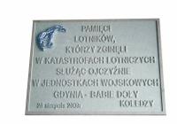 model tablicy pami_ci lotnik_w poleg_ych w Gdyni Babich-Do_ach
